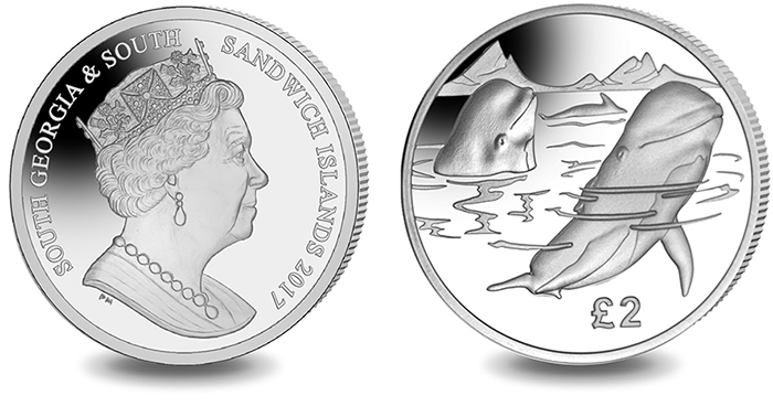 CuNi Copper Nickel UNC Coin 2017 PILOT WHALE South Georgia//Sandwich Islands