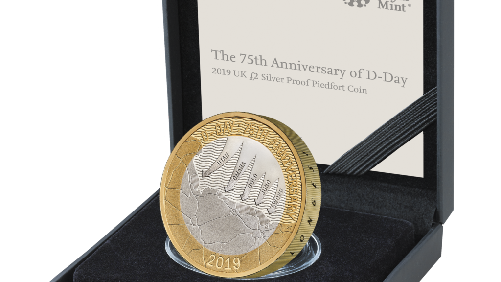 UK19DDPF-75th-Anniversary-of-D-Day-2019-UK-ú2-Silver-Proof-Piedfort-Coin-reverse-in-case-left-with-edge-1024x1024