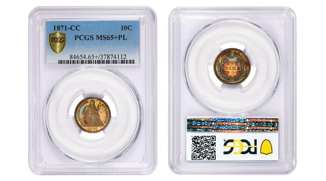 1871-CC-PCGS-MS65PL-10c-header