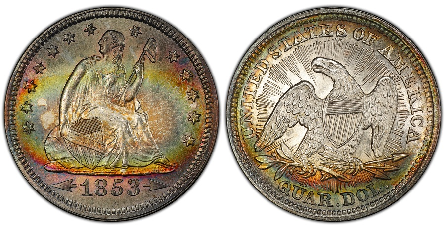Liberty-Seated-Quarter-1853-25C-Arrows-and-Rays-PCGS-MS66-header