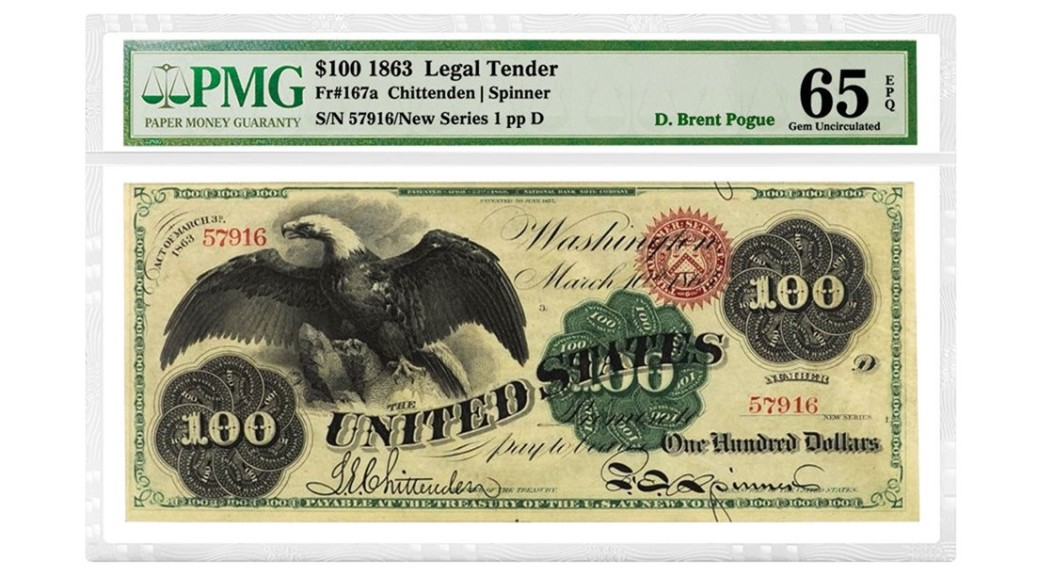 1863_US_100D_LegalTender_Fr167a_Chittenden-Spinner_DBrentPogue_57916NewSeries1ppD_OnWhite-header